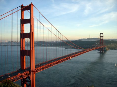 The Golden Gate Bridge in San Francisco, CA at sunset.