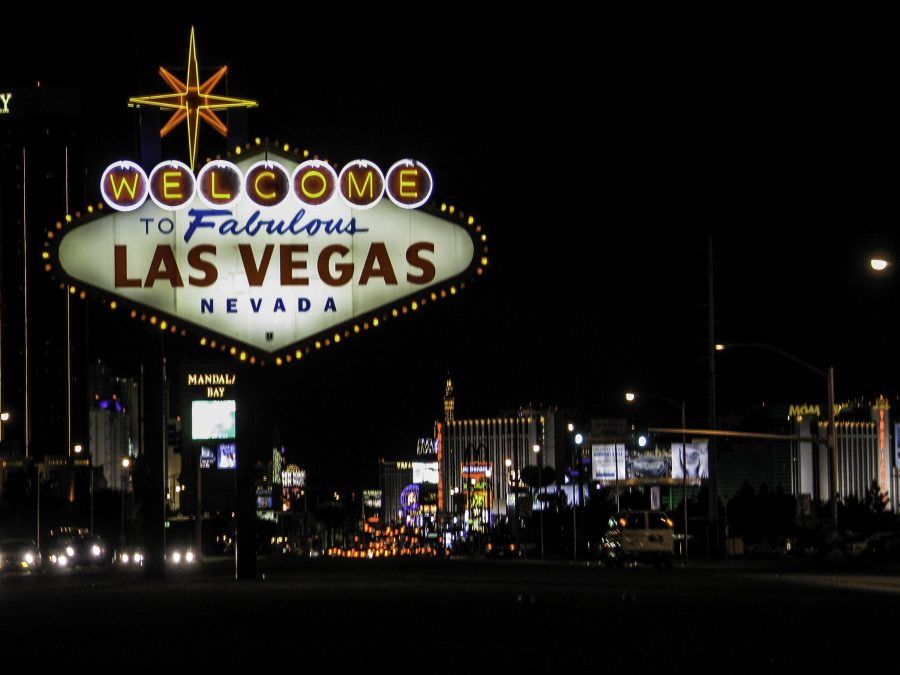 "Citation: Vasquez, David. ""Las Vegas Sign at Night."" Good Free Photos."