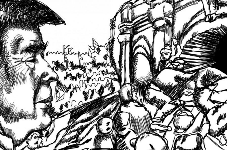 """Student artist Aidan Choi's rendition of the Jan. 6 storming of the U.S. Capitol shows President Donald Trump looking on as his supporters breach the building's defenses. On Jan. 6, rioters stormed the capitol in an event that shocked the nation and left five Americans dead. Many of those who were present at the insurrection were dedicated supporters of then-President Donald Trump. """"His large fanbase will not be going anywhere anytime soon,"""" says Palo Alto High School senior Zoe McCrea."""