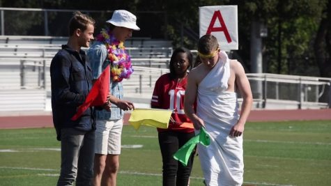 Four 2019 Paly students dress up for Salad Dressing Day. From left to right: Cowboys, Thousand Island, Sports Wear, and Togas. Photo by Ethan Chen.