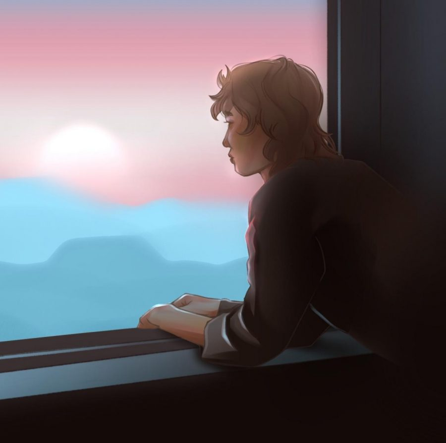 A transgender teenager gazes out a window at a trans-pride-colored sky. Art by Alison Xiong.
